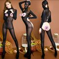 New arrival quality Sexy Fashion Women's Zentai Teddies &Bodysuits Female Black Headgear long sleeved open crotch body stockings