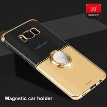 XUNDD Luxury UltraบางกรณีสำหรับSamsung Galaxyหมายเหตุ8 9 S9 S8 Plusโปร่งใสกรณีป้องกันแม่เหล็กผู้ถือรถ