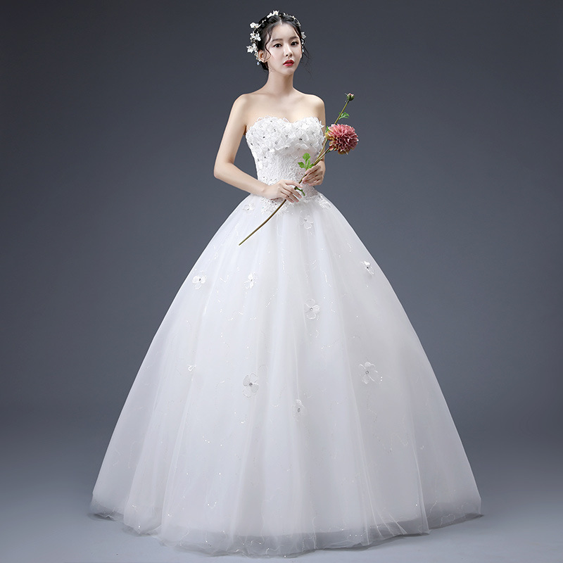 2019 New Simple Flower Strapless Wedding Dress Fashion Sequin Sleeveless Slim Custom Made Wedding Gown Vestido De Noiva L