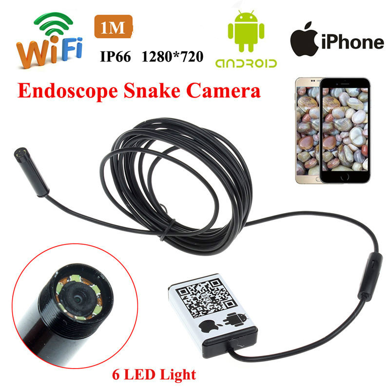 Free shipping!WIFI IOS and Android Endoscope Borescope HD Inspection 1M Snake Camera 9MM 2016 new tkstar bar mini personal trackerreal time tracking support android and ios platform free web application free shipping