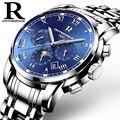 Relógio dos homens Marca ONTHEEDGE Duplo Borboleta Fivela Banda de Aço Inoxidável Relógio À Prova D' Água Multifunções Mecânica relógio de Pulso