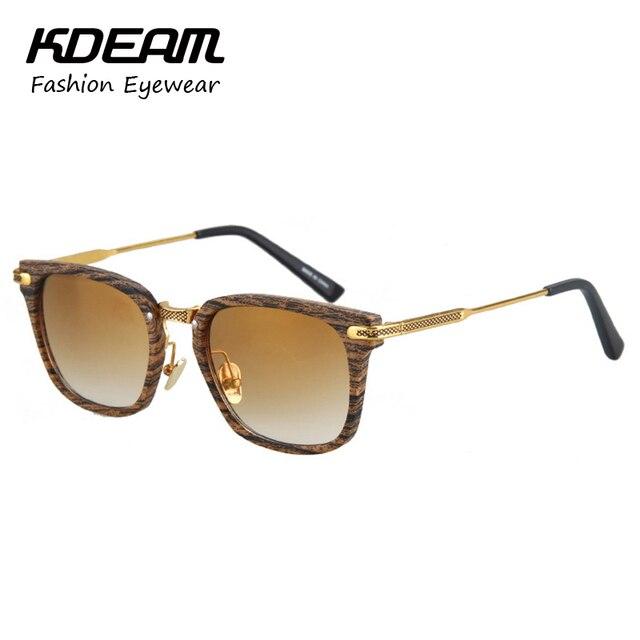 KDEAM Gentlemen Eyewear Gold Sunglasses Men Fashion Alloy Plated Sun Glasses For Women gafas de sol With Protective Case KD541