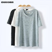 Large Size Women Tops 2017 Summer T Shirt Loose Long Tee Shirt Blouse Casual Pure Color