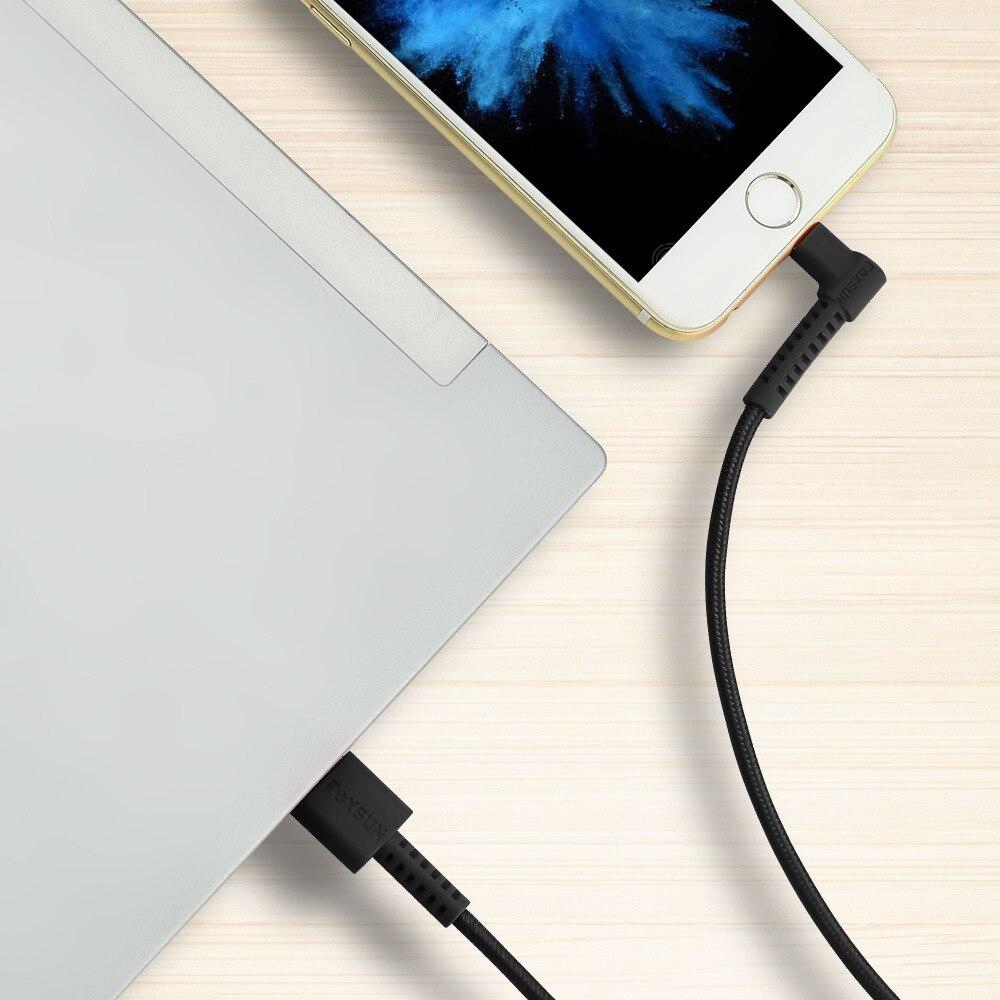 Foxsun 90 градусов для кабель Lightning/Сертификация Apple MFi правый угол кабель плетеный нейлоновый USB High Скорость синхронизации данных шнуры