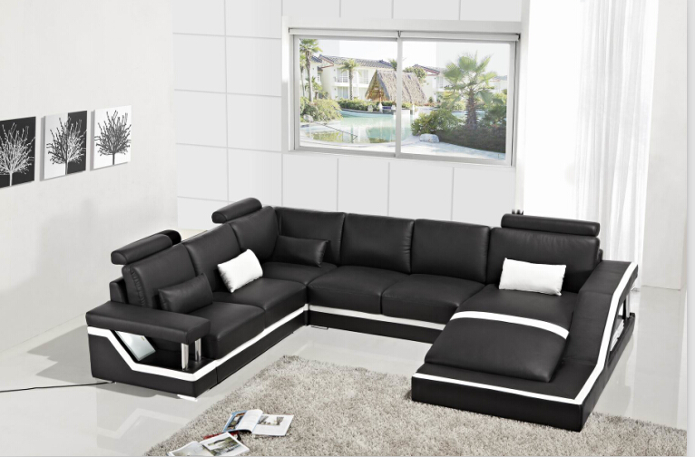 L Shaped Black Leather Sofa Set Green Uk Corner Sofas With Genuine Sectional ...