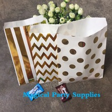 """Baby Shower Party Favor 25pcs Gold Foil 5"""" X 7"""" Treat Bags Party Favor Paper Bag"""