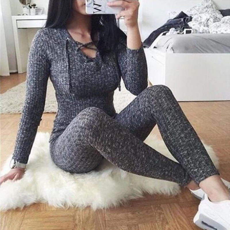 Sexy Women Jumpsuit Cross Bandage V -Neck Knitted Autumn Winter Grey Sweater Slim Bodycon Jumpsuit Romper Warm Sweaters Top