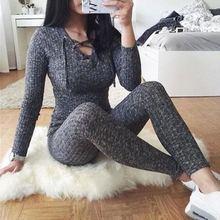 Sexy Women Jumpsuit Cross Bandage V -Neck Knitted Autumn Winter Grey Sweater Sli