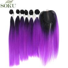 SOKU синтетические волосы пряди с закрытием кружева 7 шт./упак. яки пучки прямых и волнистых волос 185g 14-18 дюймов фиолетовый пряди для наращивания волос