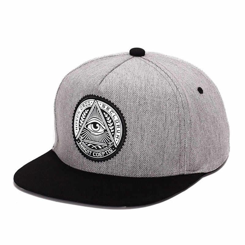 8234eb5dcffb4 2018 Fashion Round Label Triangle Eye Illuminati Snapback Hats Women  Adjustable Baseball Cap Men Snapbacks Hip