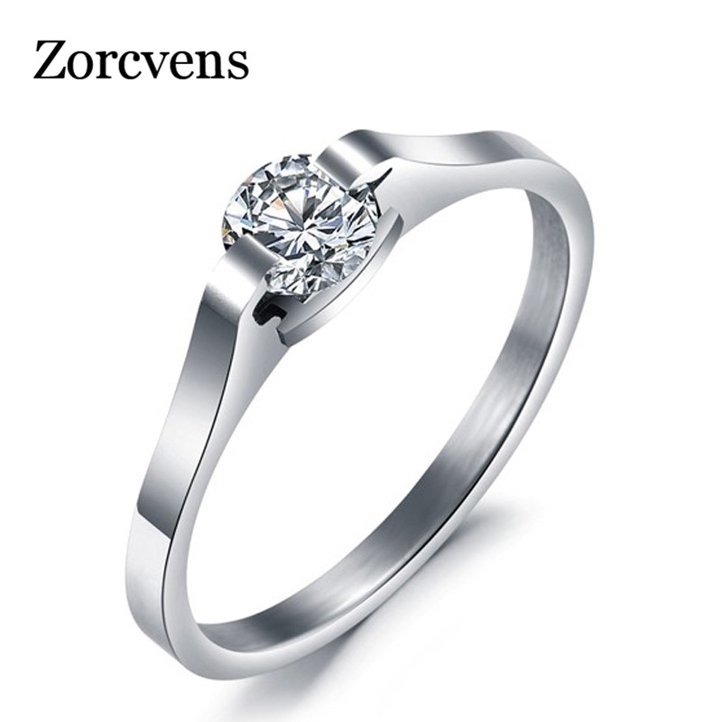 ZORCVENS 2019 New Fashion Jewelry Anello Donna Acciaio inossidabile Cubic Zirconia Fedi nuziali per donna