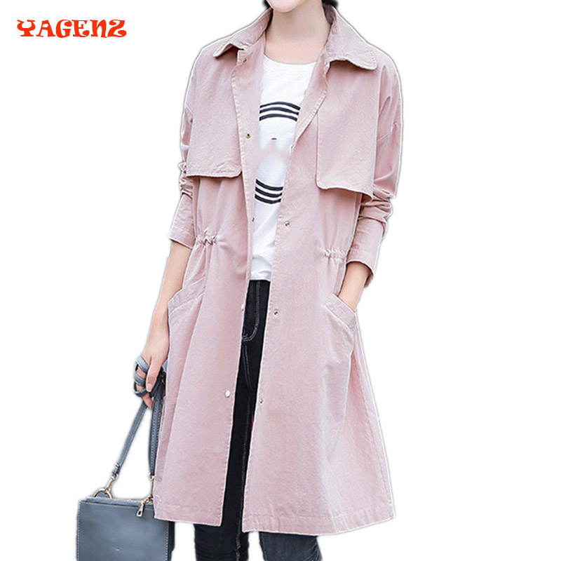 New Autumn Women Windbreaker 2017 Autumn fashion slim long Sleeve Single breasted loose plus size Cotton Casual   Trench   Coat