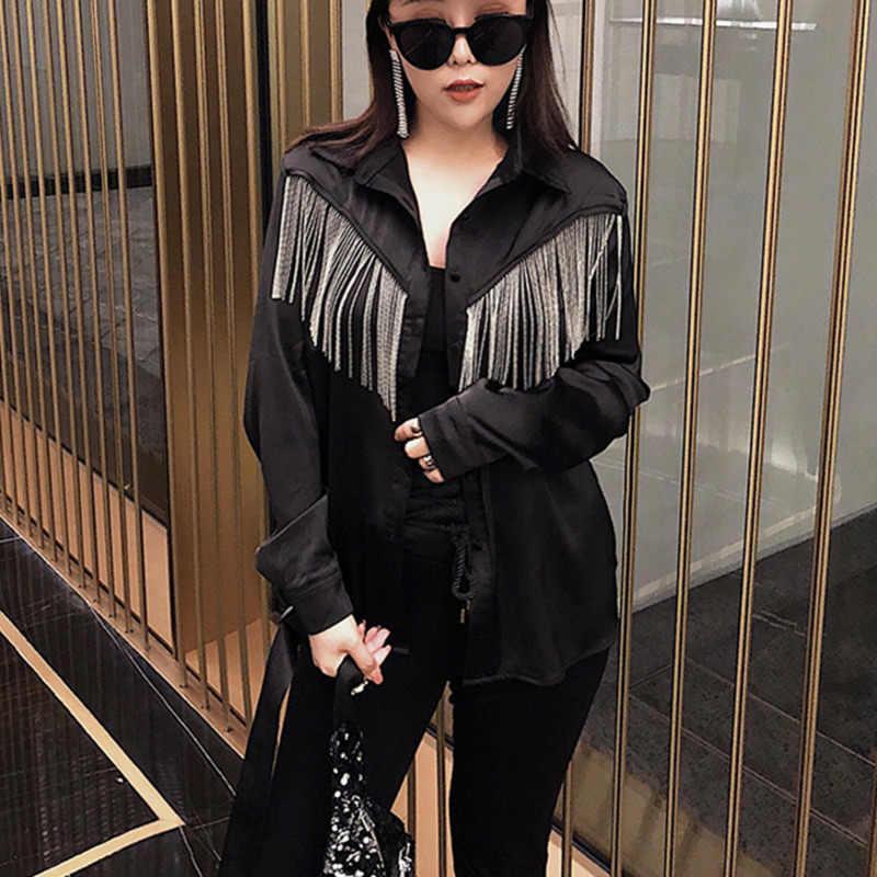 [EWQ] 夏シャツ 2019 ファッションスクエア長袖タッセルシングルブレストパッチワークボヘミアンシャツ女性のファッションブラウス AG04301L