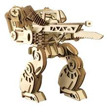 3D Wooden Cool Puzzles Laser Engraving Mecha Robot DIY Transformers Safe Assembly Constructor Kit Toy For Kids Teens And Adults(China)