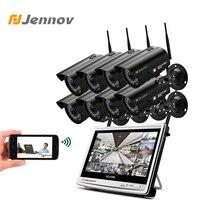 Jennov 8CH 1080 P 2MP комплект видеонаблюдения Беспроводной ЖК-дисплей NVR безопасности Камера Системы Открытый IP Камара Wi-Fi комплект видеонаблюдени...