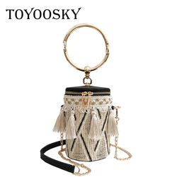 TOYOOSKY Japan Style Bucket Cylindrical Straw Bags Barrel-Shaped Woven Women Crossbody Bags Metal Handle Shoulder Tote Bag