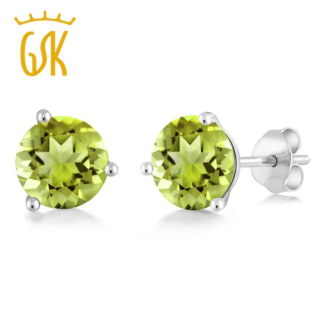 Us 143 99 Trendy 1 70 Ct Round 6mm Gemstone 14k White Gold Martini Stud Earrings Engagement Green Peridot Gem Stone King In From