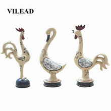 VILEAD 25cm Resin Hand-Painted Animal Figurines Stoneware Ornaments Nordic Creative Duck Cat Dog Crafts Decoracion Hogar Gifts(China)