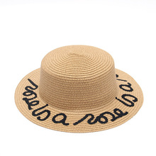 514dd9b6633a1a 2018 New Women Straw Summer Large Brim Fedora Customized Letter Sun Hat  Floppy Ribbon Fashion Beach
