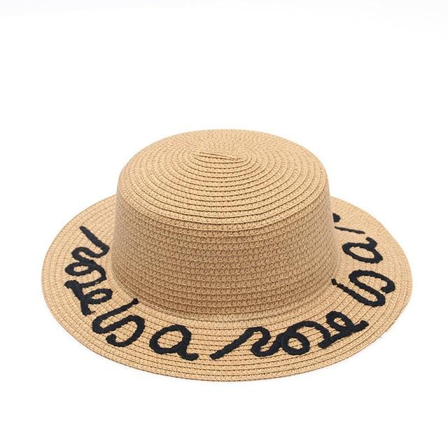 bdd87b80f5c 2018 New Women Straw Summer Large Brim Fedora Customized Letter Sun Hat  Floppy Ribbon Fashion Beach Hat