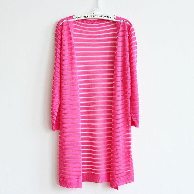 Кардиган свитер случайные свободные hollow полосой дизайн вырез тонкий Вязаный Свитер Кардиган кондиционер рубашка верхняя одежда