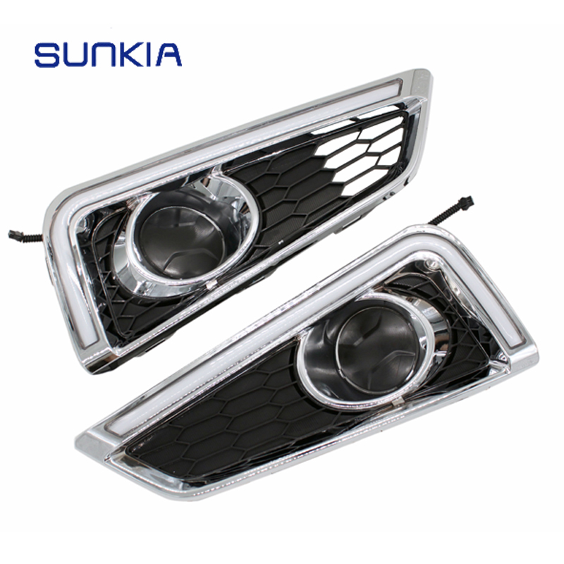 цены SUNKIA Day Light LED Daytime Running Light 12V DRL For Honda City 2015 2016 2017 With Yellow Color Turning Signal Lamp