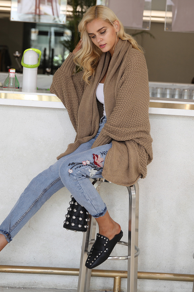 Simplee Batwing knitted shrug sweater women Autumn winter fashion tricot warm jumper sweater oversize shawl cardigan sweaters 8