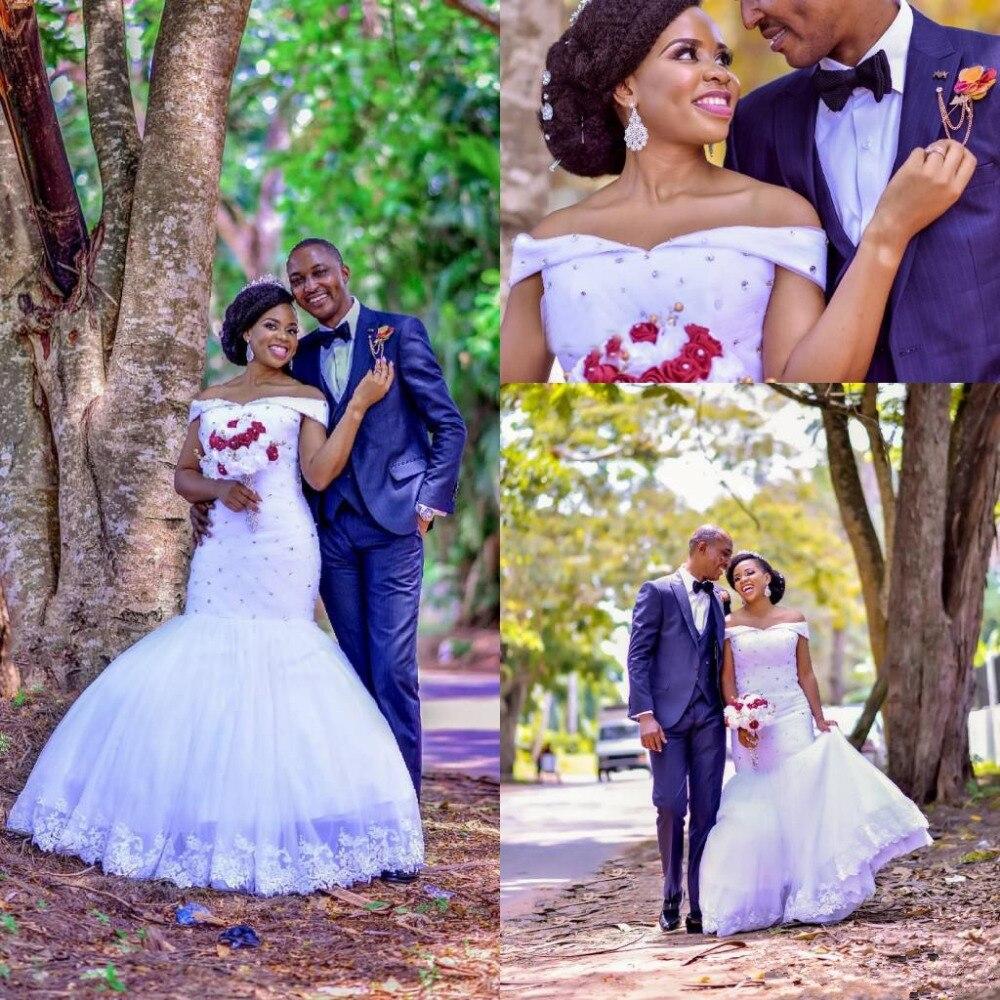 Nigrian Bridal Wedding Dresses: African Nigerian 2019 Mermaid Wedding Dresses Beads Tiered