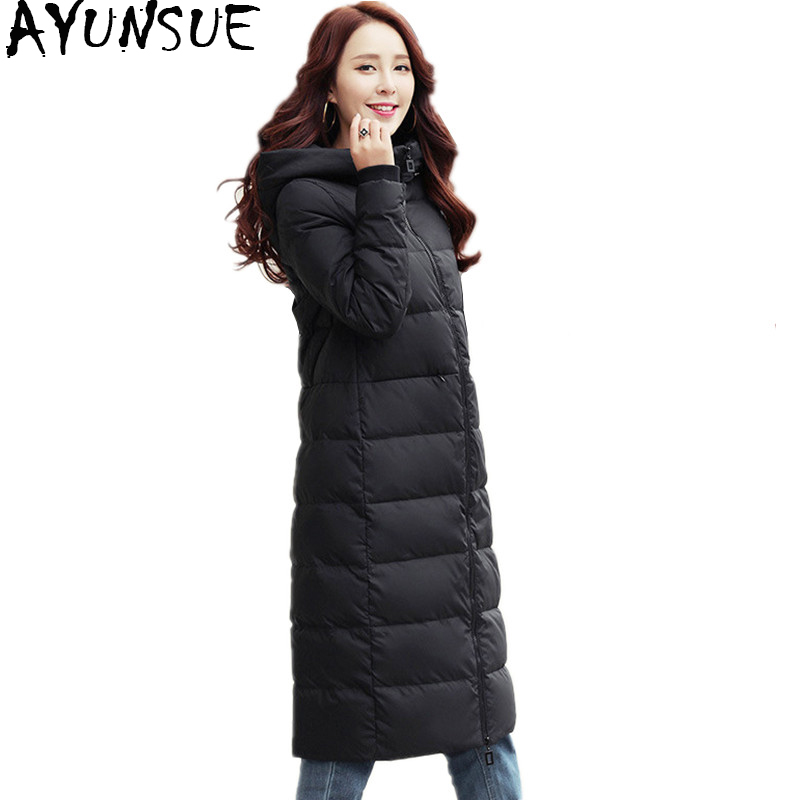 AYUNSUE 2018 Womens Winter Jackets 90% White Duck Down Jacket Hooded Long Warm Woman Coat abrigos mujer invierno 2018 WYQ817
