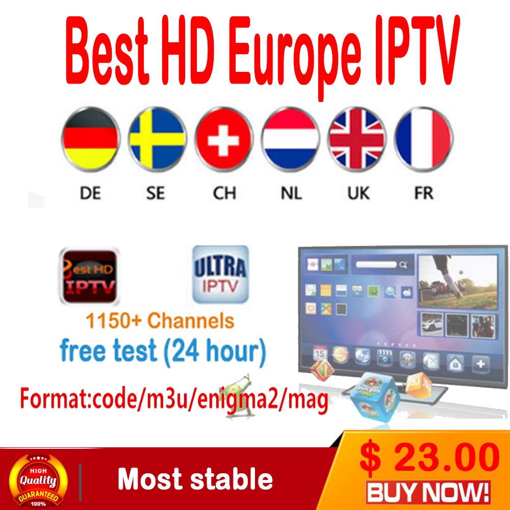 1 Year Arabic French UK Europe IPTV subscription 1500+ channels support android tv box/android phone/iptv m3u/mag 250/engima2.0