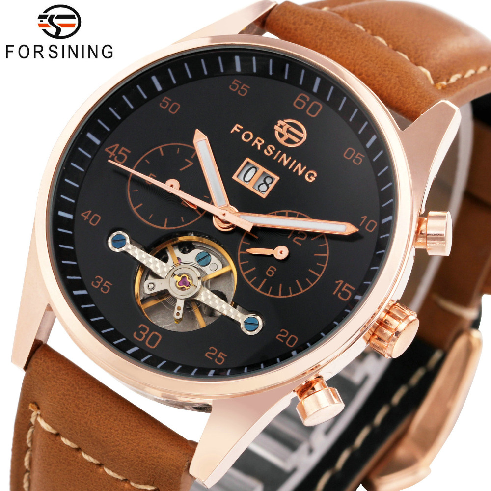 лучшая цена FORSINING Fashion Brown Auto Mechanical Watches Men Genuine Leather Strap Tourbillon Design 2 Sub-dials Clock Top Brand Luxury