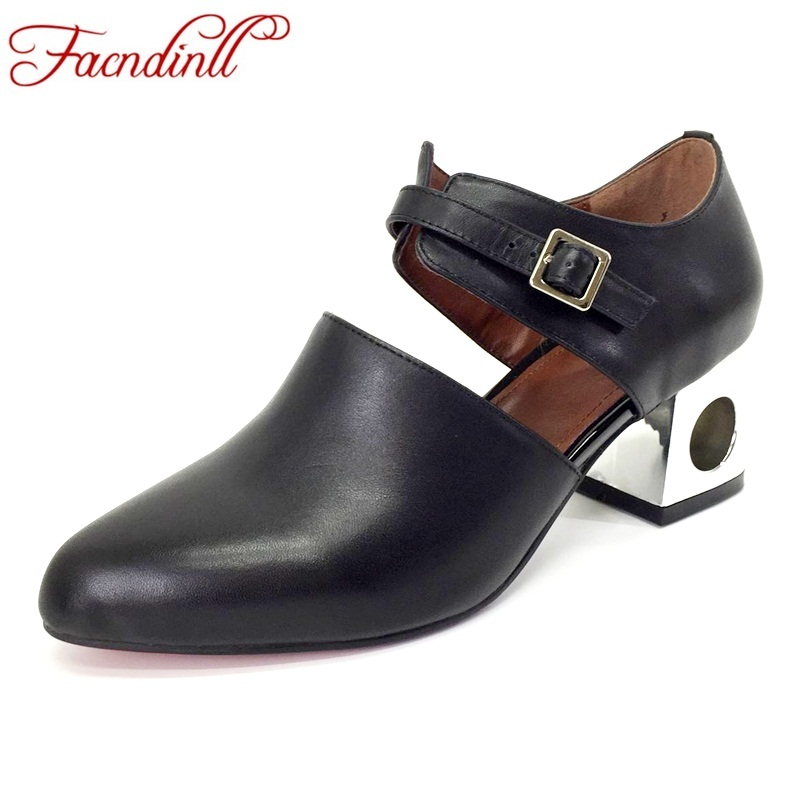 FACNDINLL brand fashion high heels shoes women spring summer office shoes woman buckle party dress shoes genuine leather pumps facndinll genuine leather sandals for