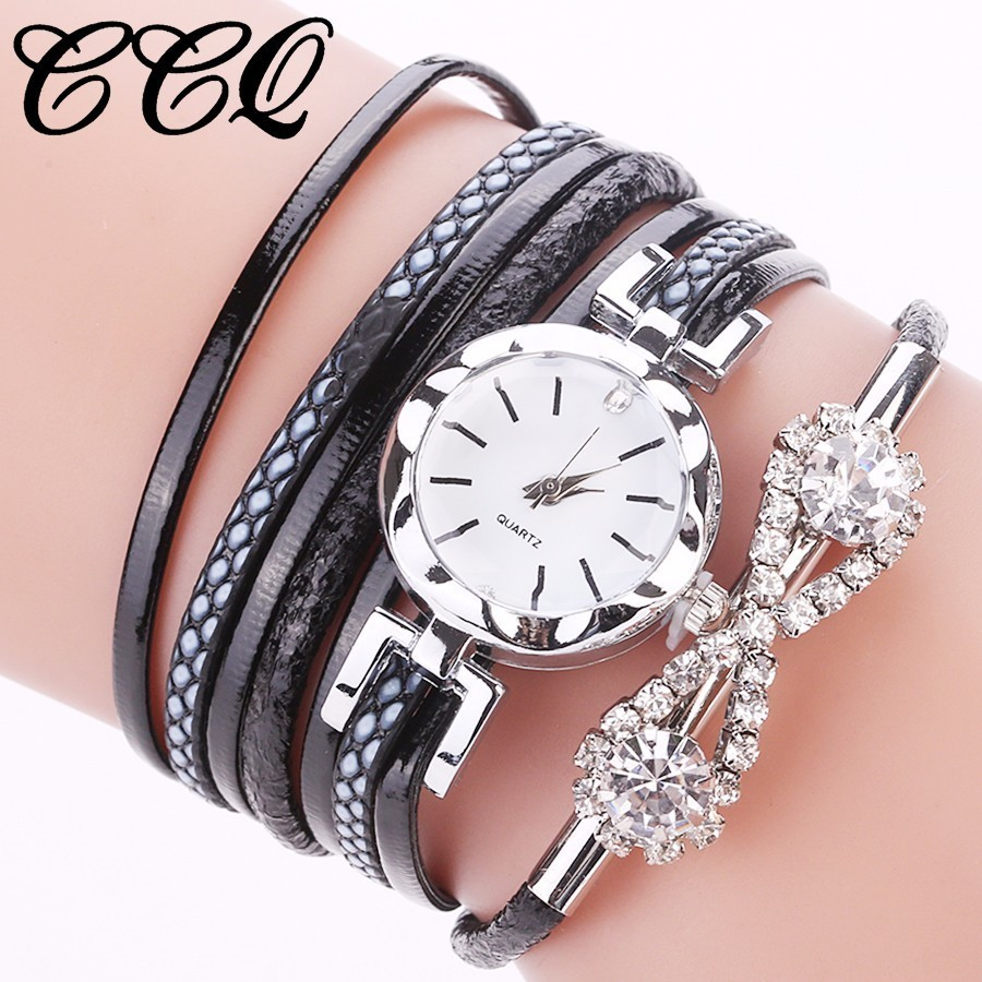 Women Leather Bracelet Watches Fashion Ladies Crystal Jewelry Dress Watch Vinage Quartz  ...