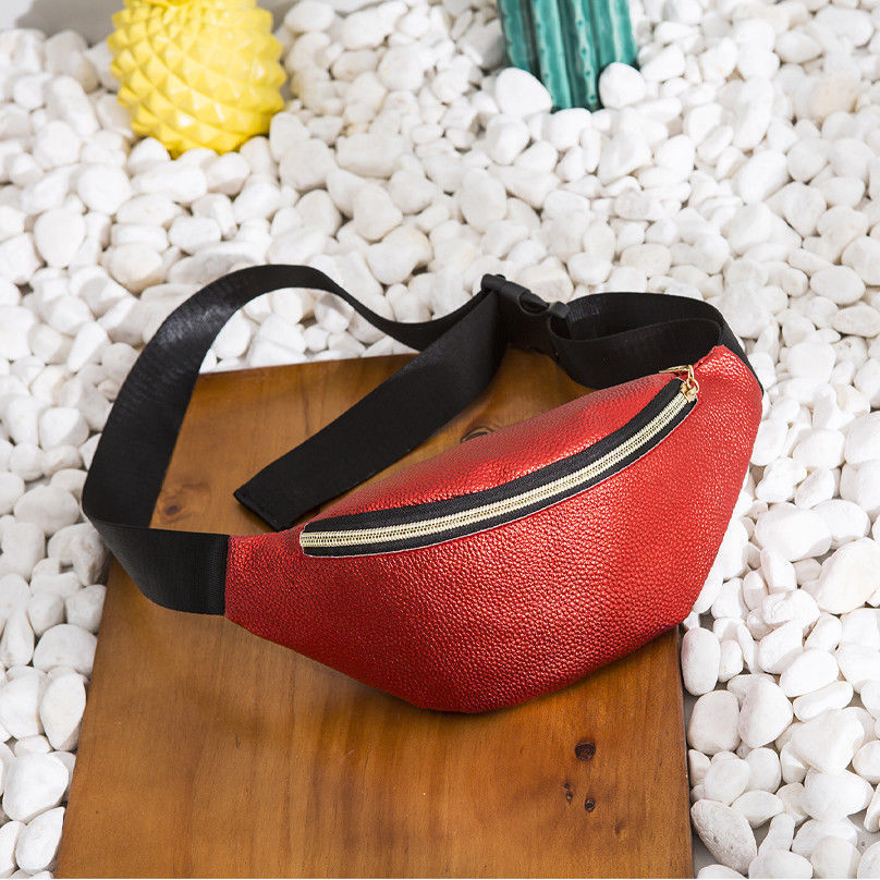 New Women's Belt Bag Fashion Solid Color PU Leather Waist Bag Leisure Travel Portable Chest Bag