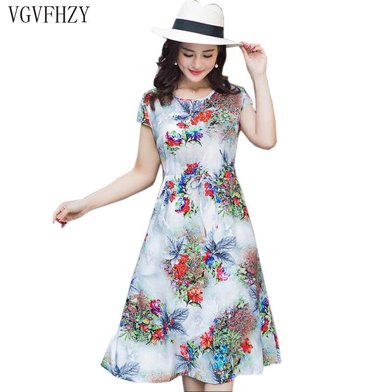 Plus size L-4XL Summer Women Dresses Mother Clothes Middle-aged 2018 Short-sleeved Print Vintage dress Loose long dress Vestidos