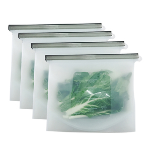 Image 1 - 8 個食品シリコーン新鮮なバッグ再利用可能な真空密封された冷凍庫バッグスライドロックスナック/サンドイッチマリネ収納袋ツール