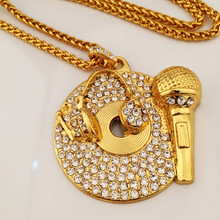 MCSAYS Hip Hop Necklace MIC PHONE DJ Pendant Charm Sweater Link Chain Hip Hop Necklace Mens Fashion Gifts (Size L; Color Silver)