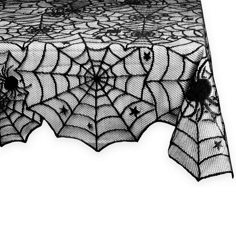 Table Cloth European Black Spiders Spiderweb Tablecloth Fabric Party  Halloween Decoration Lace Gothic Costume Decor Rectangular In Tablecloths  From Home ...