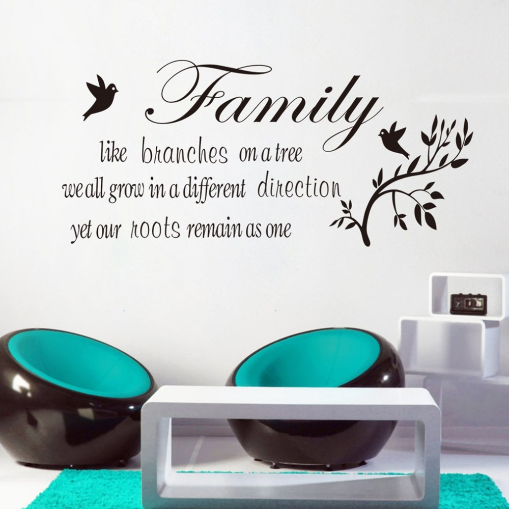 Family Like Branches on a Tree Vinyl Wall Art Quote Words Decal Sticker Lettering Wall Sayings Home Room Decor Mural Wallpaper