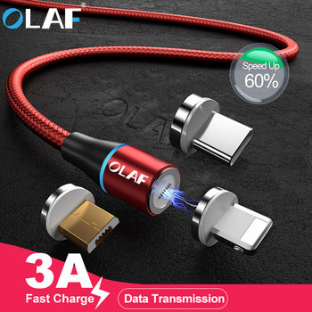 OLAF 2M 3A Quick Charger 3.0 Magnetic Cable For iPhone XS XR X 7 6 Fast Micro USB Type C Magnet Type-C Phone Cable For Samsung
