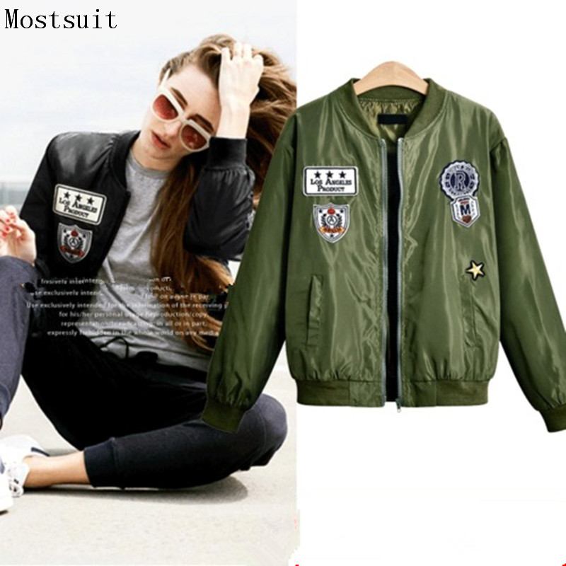 2018 New   Jacket   Coat Women Applique Badge Fashion Autumn   Basic     Jackets   Casaco Feminino Baseball Bomber Female Spring Coats L-4xl
