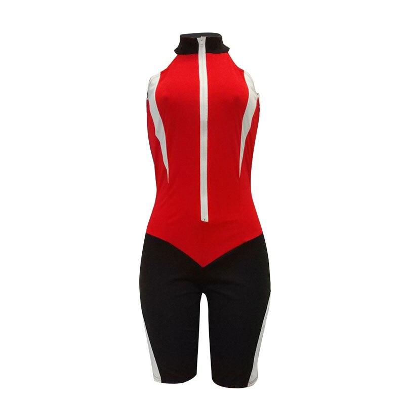 Новый Для женщин сексуальные комбинезоны без рукавов на молнии спереди женский лоскутное Moto комбинезоны B05JM680