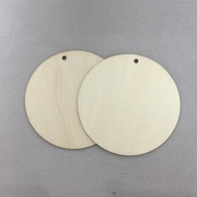 set of 50 wooden 4 inch circles unfinished wood circle blank cut out with hole hanging decorations