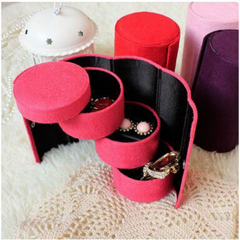 Portable Jewelry Display Box Casket Jewellry Packaging Box Organizer Flannel Necklace Rings Case Storage Boxes