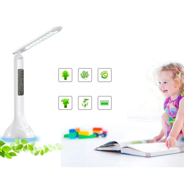 DC5V Dimmable Levou Lâmpada de Mesa 4 W Mesa de Luz da Bateria de Carregamento USB com Calendário Alarme Temporizador Atmosfera Chave de Toque para crianças