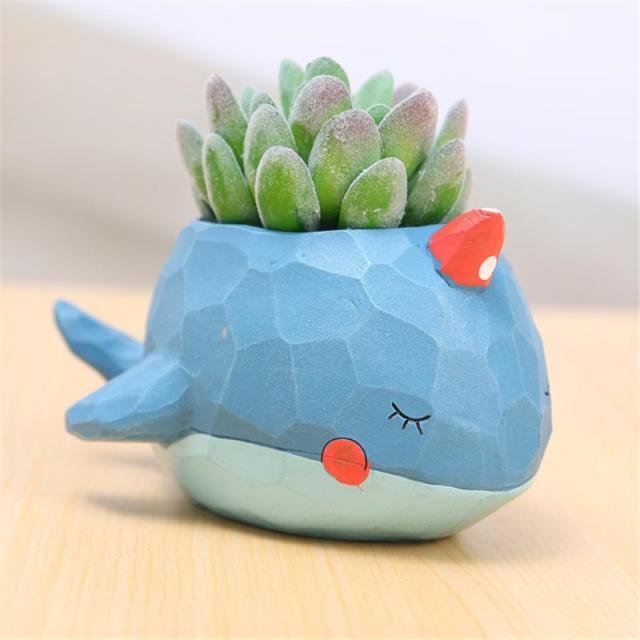 Creative Style Lovely Whale Flower Pot 3