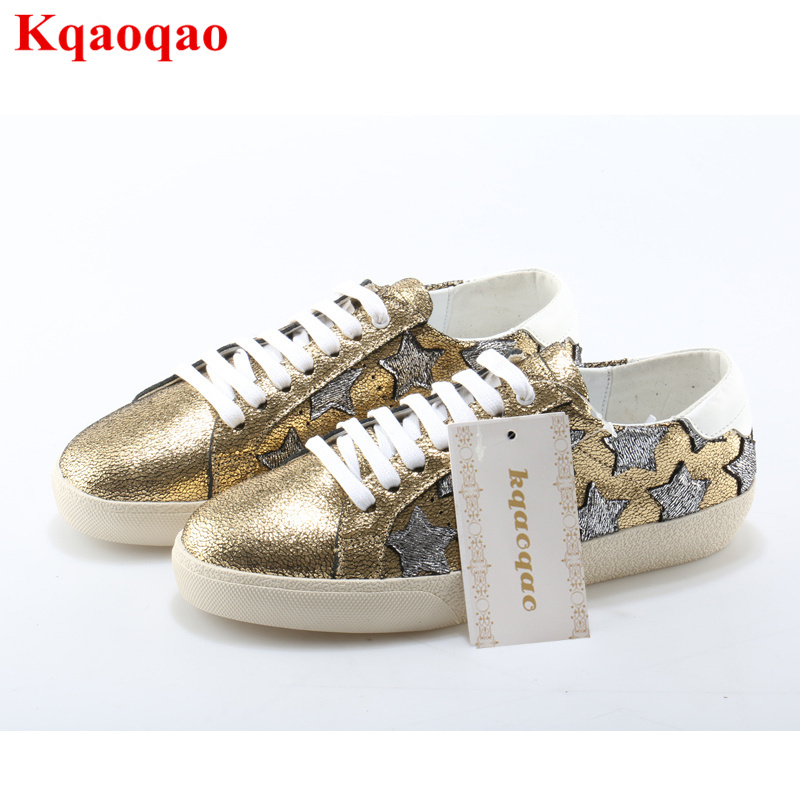 Round Toe Women Lace Up Shoes Colorful Star Pattern Design Women Flats Low Top Luxury Brand Superstar Casual Shoes Girl Sneakers chic scoop collar totem pattern lace spliced tank top for women