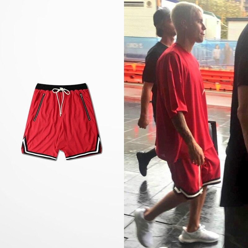 Retro Streetwear Justin Bibo Tide Men Mesh Harem Shorts European American Style Swap Loose Casual Zipper Shorts Hip-Hop S-3XL