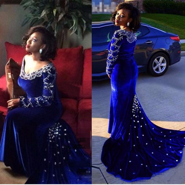 luxury royal blue velvet mermaid long evening dresses 2017 crystal