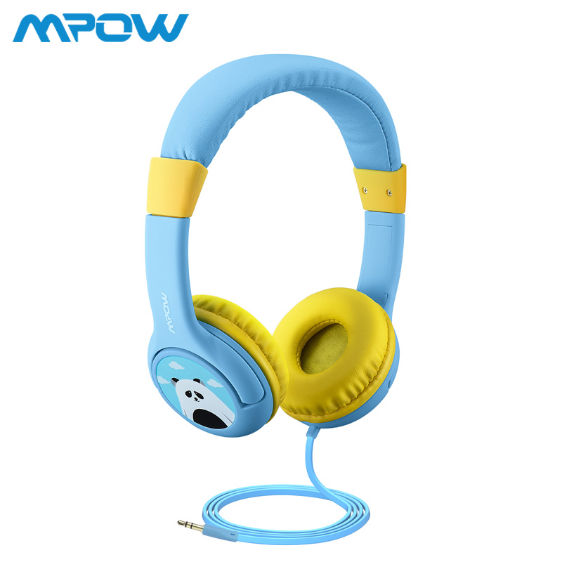 Mpow BH178 Kids Wired Headphones Volumn Limiting Headset With Shareport Cute Panda Pattern Soft adjustable headband For PC iPad headphones